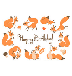 Happy birthday card with cute squirrels in a vector