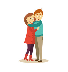 Adult couple hugging flat isolated vector