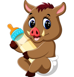 cute baby wild boar cartoon vector image