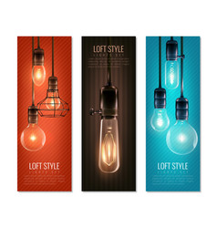 Light bulbs vintage style vertical banners vector