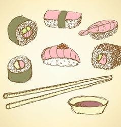 Sketch sushi rolls in vintage style vector