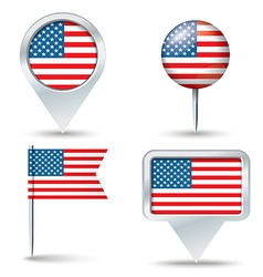 Map pins with flag of united states of america vector