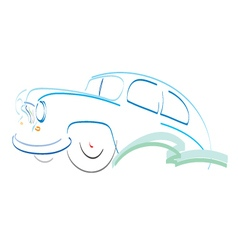 Retro car symbol design silhouette vector image