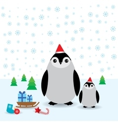 Funny penguins in the red hat christmas winter vector