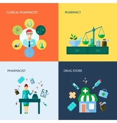 Pharmacist flat icon set vector