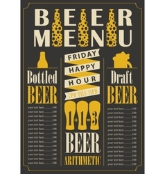 Bottled and draft beer with price list vector