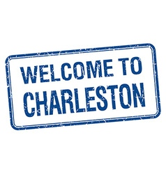 Welcome to charleston blue grunge square stamp vector