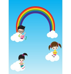 Education concept cute little kids boy and girl vector