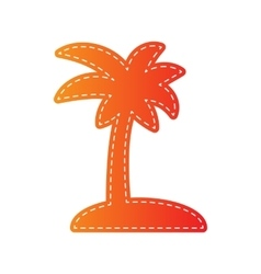 Coconut palm tree sign orange applique isolated vector
