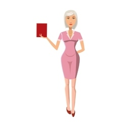 Businesswoman with red book icon cartoon style vector