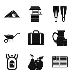 agritourism icons set simple style vector image vector image