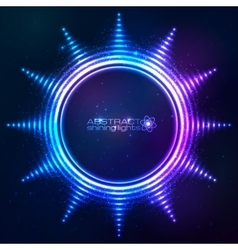 Bright shining blue neon sun at dark cosmic vector image vector image