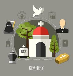 cemetery concept set vector image