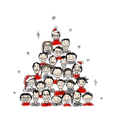 Christmas tree made from group of people for your vector