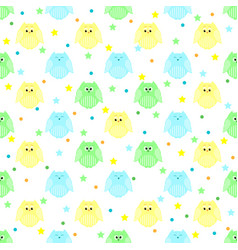 Cute blue green and yellow owls with stars and vector