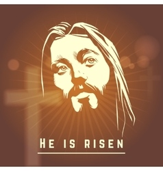 Face of Jesus with He is risen text Easter vector image vector image