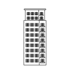 Figure apartment building line sticker vector