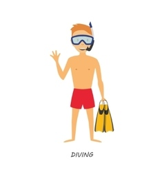 Figure diver in cartoon style on white background vector