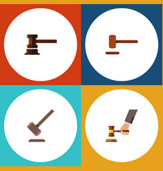 Flat icon lawyer set of tribunal government vector