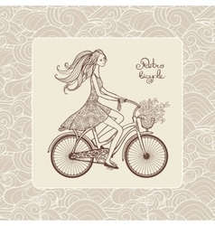 Girl on bicycle vector