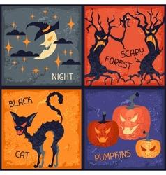 Happy halloween grungy retro backgrounds vector