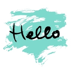Hello lettering calligraphy vector image vector image