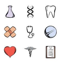 hospital icons set cartoon style vector image