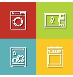 Household appliances icons in line style on color vector image vector image