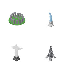 Isometric architecture set of england new york vector