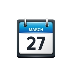 March 27 calendar icon flat vector