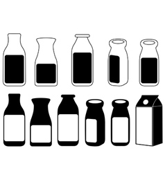 Milk bottles vector