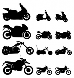 motorcycle set vector image vector image