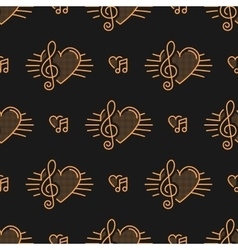 Music notes seamless pattern treble clef thin vector