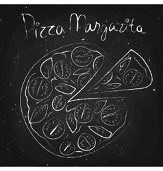 pizza margarita drawn in chalk on a blackboard vector image