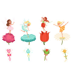 Set of little fairies hovering over beautiful vector