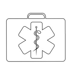 Silhouette firts aid kit with symbol star of life vector