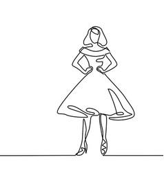 Silhouette of slender woman in midi dress vector