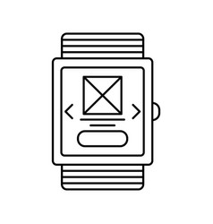 smart watch outline icon isolated lined vector image