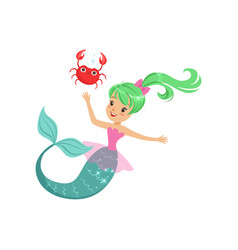 smiling mermaid girl swimming with friendly crab vector image vector image
