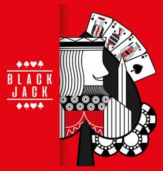 spade king black jack cards gamble chips red vector image