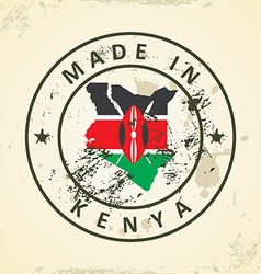 Stamp with map flag of kenya vector