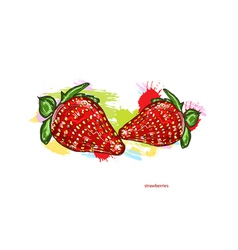 strawberries with colorful splashes vector image vector image