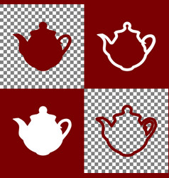 Tea maker sign bordo and white icons and vector