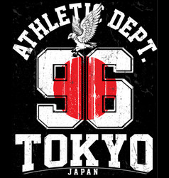 tokyo athletic sport typography t shirt graphics vector image