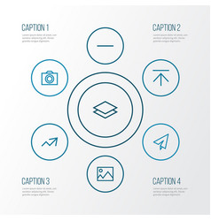 User outline icons set collection of camera vector
