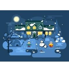 Winter night children play vector