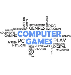 word cloud computer games vector image vector image