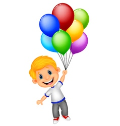 Young boy cartoon flying with balloon vector