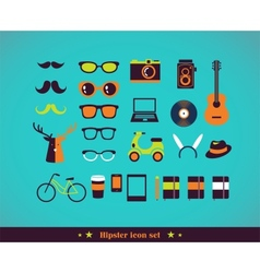 Hipster concept icon set vector