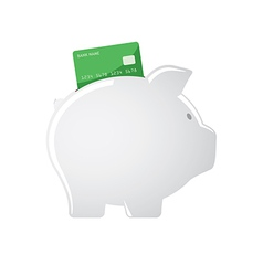 Piggy bank accepting credit cards vector